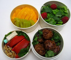 Meatballs and gold kiwi salad lunch | by Biggie*