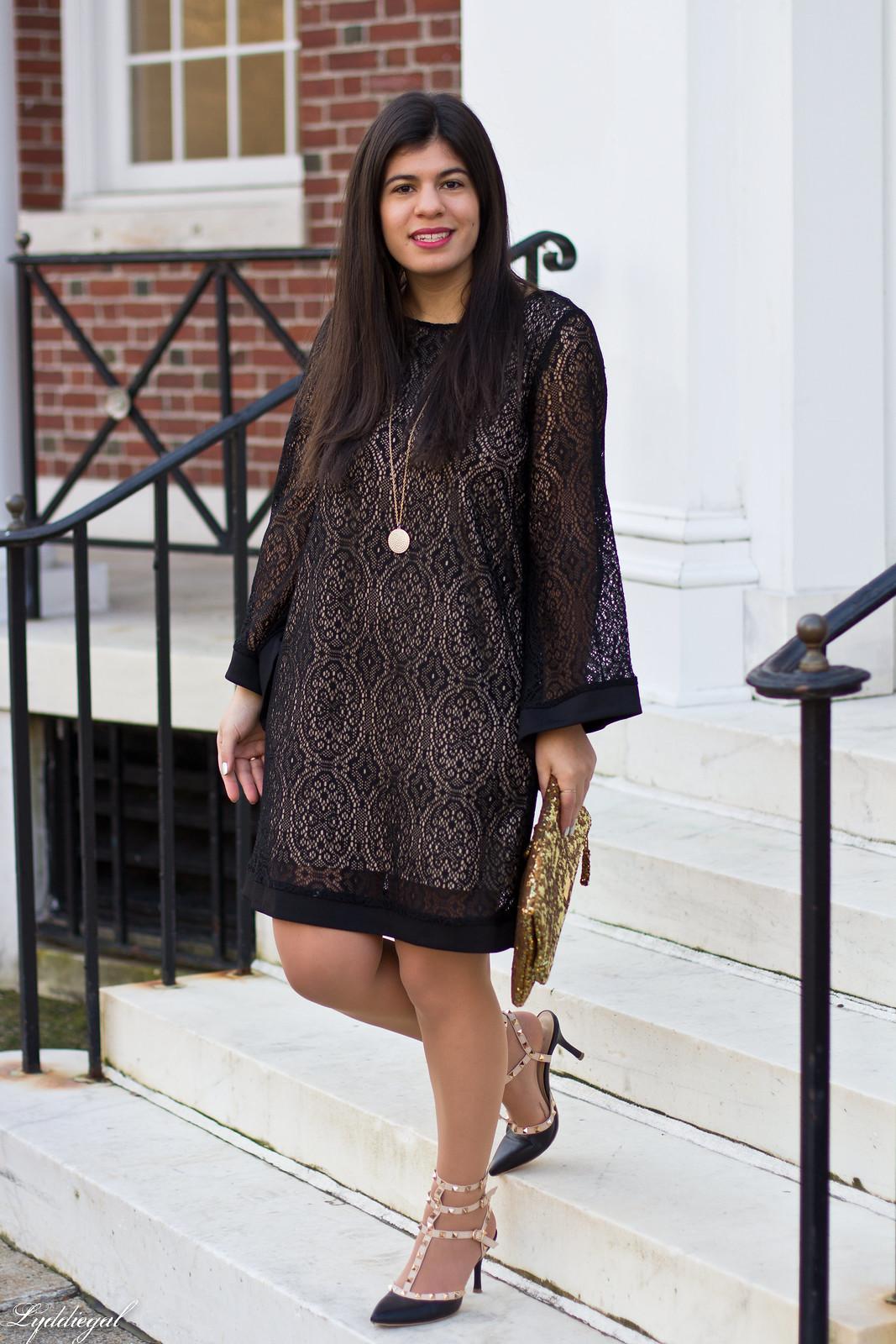 black lace dress, gold sequin clutch, studded pumps.jpg