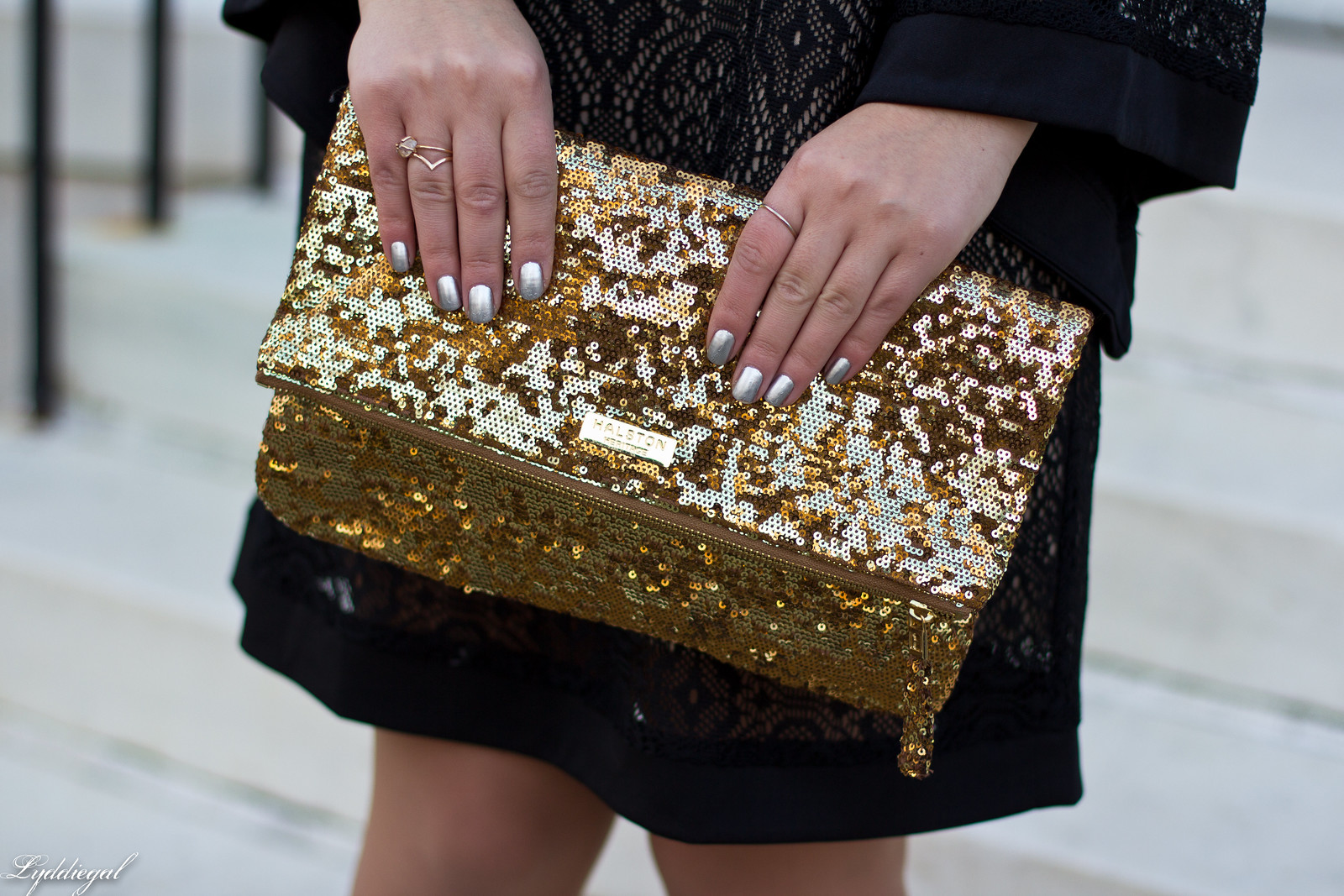 black lace dress, gold sequin clutch, studded pumps-4.jpg