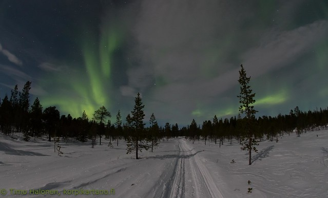 Auroras above the snowmobile track
