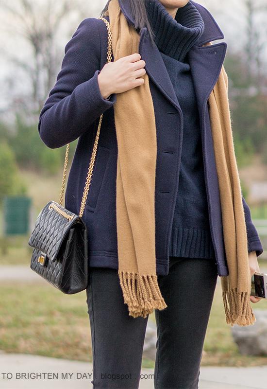 navy peacoat, camel scarf, navy cowlneck sweater, black skinny jeans