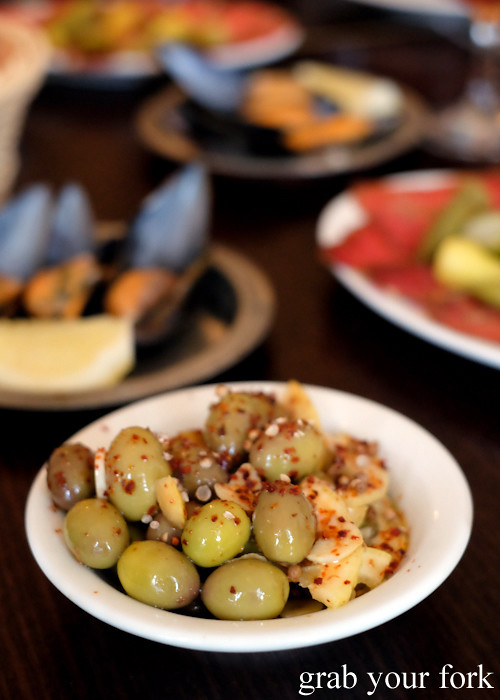 Turkish Cypriot style green olives at Stanbuli in Enmore