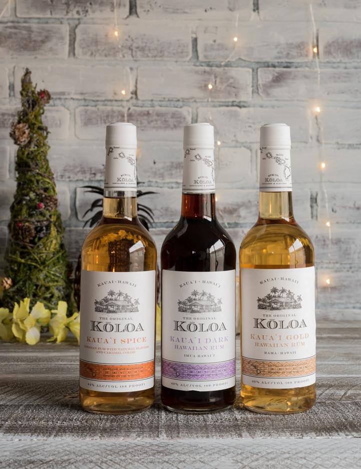 Three bottles of koloa rum