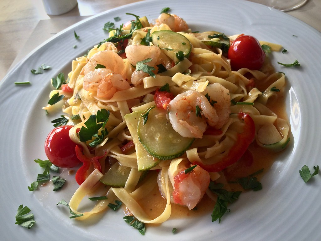 Shrimp and Zucchini Tagliatelle in a Garlic Butter Sauce at Tamam