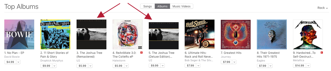 Joshua Tree on iTunes Rock album chart