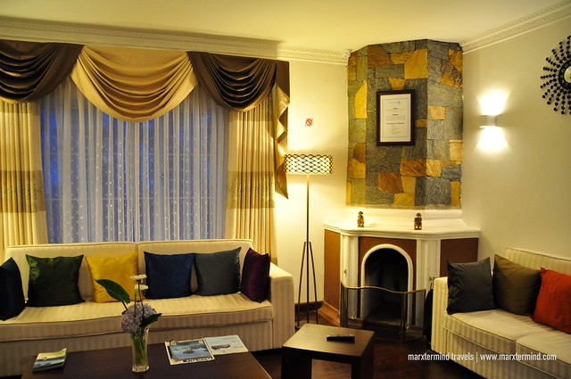 Fireplace and Hotel Lounge Area at Blue Meadows