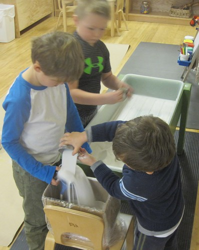 emptying the sensory table