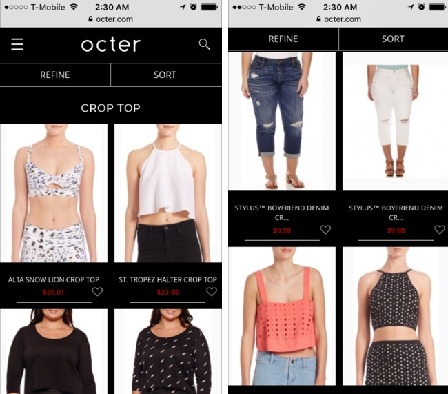 octer.com review - aggregated shopping