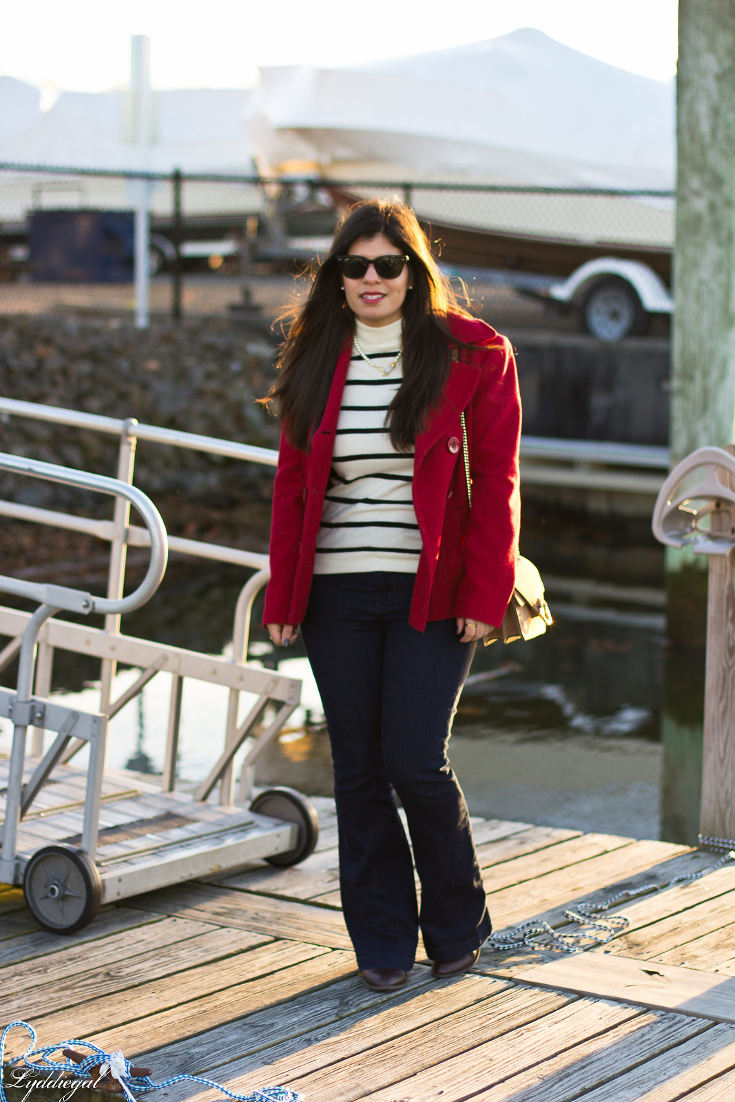 striped sweater, flared denim, red pea coat-2.jpg