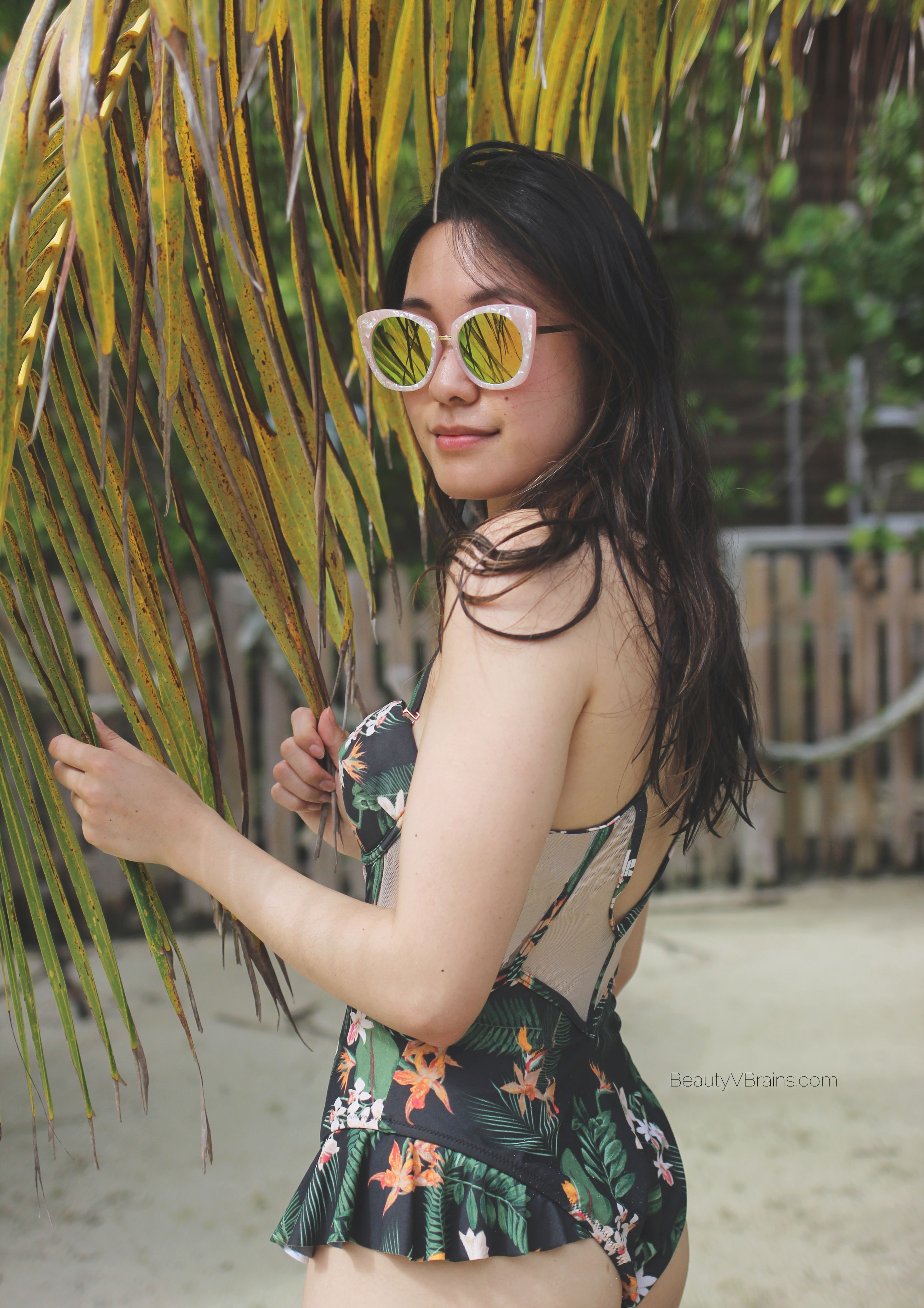 Somedays lovin' palm print floral swimsuit