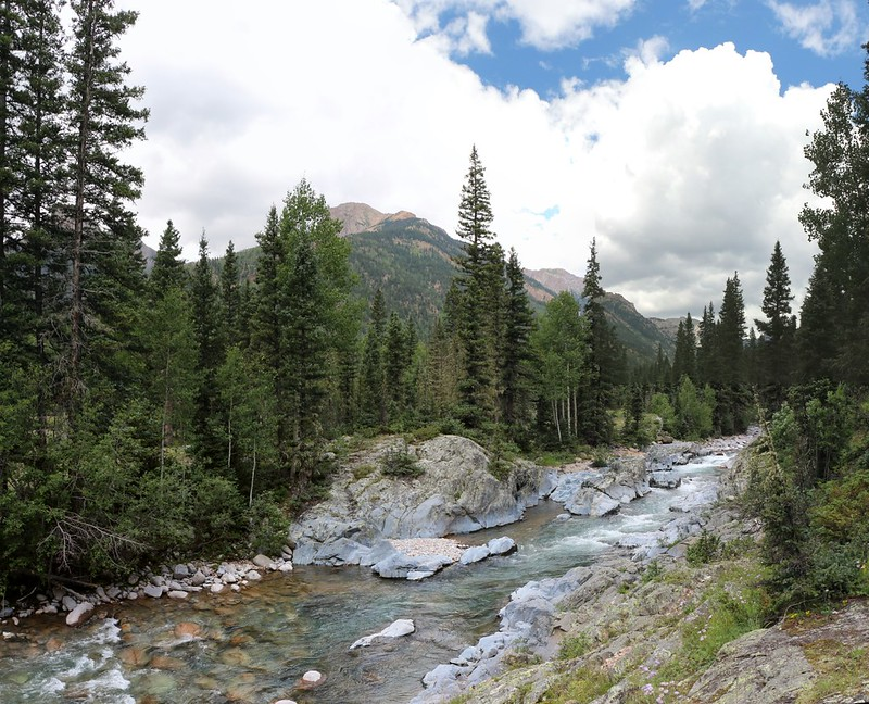 Vallecito Creek's granite creekbed shows white mineral deposits just above Johnson Creek