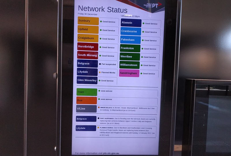 PTV information screen, Bentleigh station