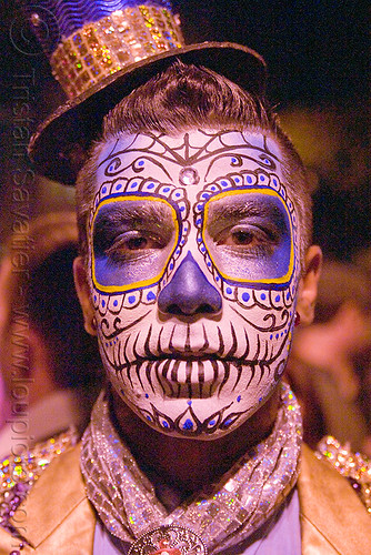 DSC03633 - Man with Blue Sugar Skull Makeup - Día de Los Muertos - Halloween (San Francisco) | by loupiote (Old Skool) pro