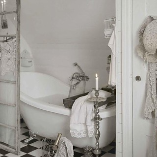 White shabby chic country style romantic bathroom. | by princess 83