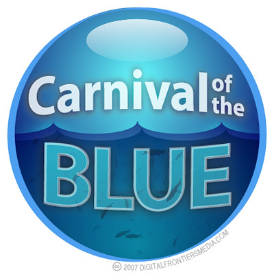 Carnival of the Blue badge (white) | by cephalopodcast