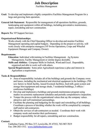 Facility manager job description