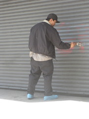 Graffiti removal, Geary St. between Leavenworth and Jones, San Francisco | by dgollub