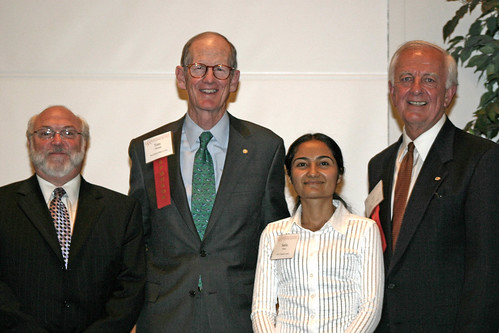 Bill Buratto, Tom Thomas, and Ed Birch with student Sadia Souri at Leadership Dinner | by California State University Channel Islands