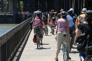 Bike traffic, Steel Bridge, sunny Saturday-1