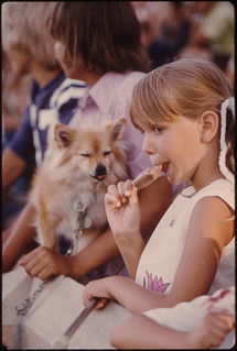 Youngster Unknowingly Has Shared Her Ice Cream Stick with the Dog as She Watches Judging During the Kiddies Parade in Johnson Park in New Ulm, Minnesota... | by The U.S. National Archives