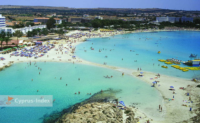 Nissi Beach and Nissi Bay aerial view, Ayia Napa, Cyprus