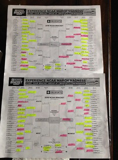 Bracketology 2016. Pink is bad. Thus far I have more pink...