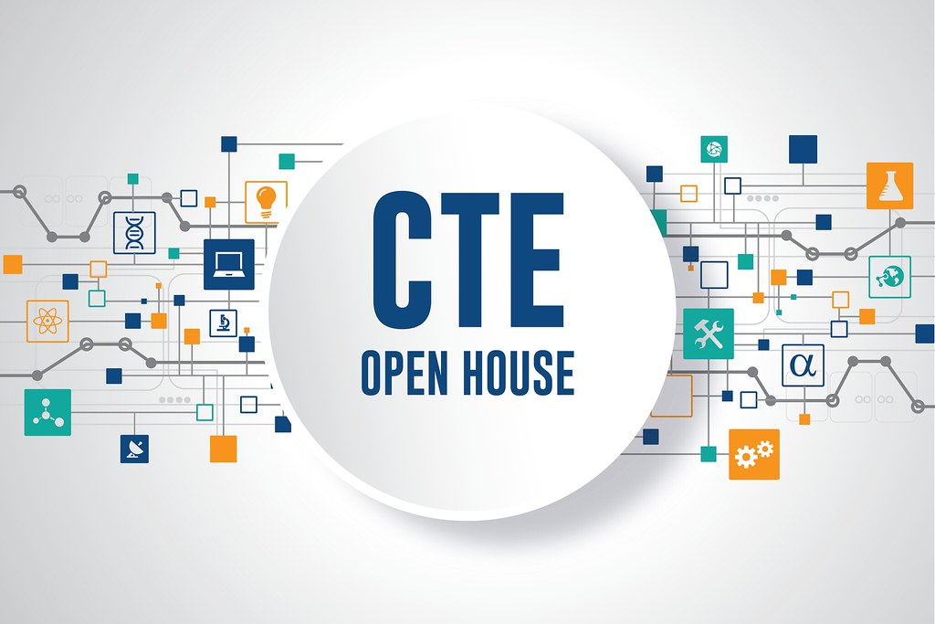 Circuits and icons representing professions on white background with large center circle and overlay text 'CTE Open House'