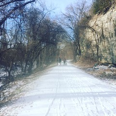 Following up yesterday's half marathon with a half-snowy, half-slushy 40 mile gravel ride. Thank goodness I'm not feeling post-race soreness (yet! That'll probably kick in tomorrow) because today's challenging surfaces wiped me out. #tothelimit #training