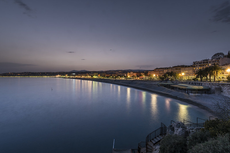 Engelsbucht von Nizza nach Sonnenuntergang