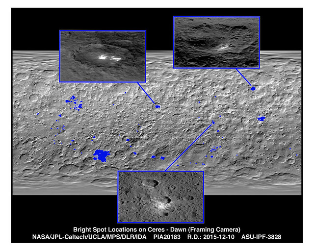 Bright Spot Locations on Ceres