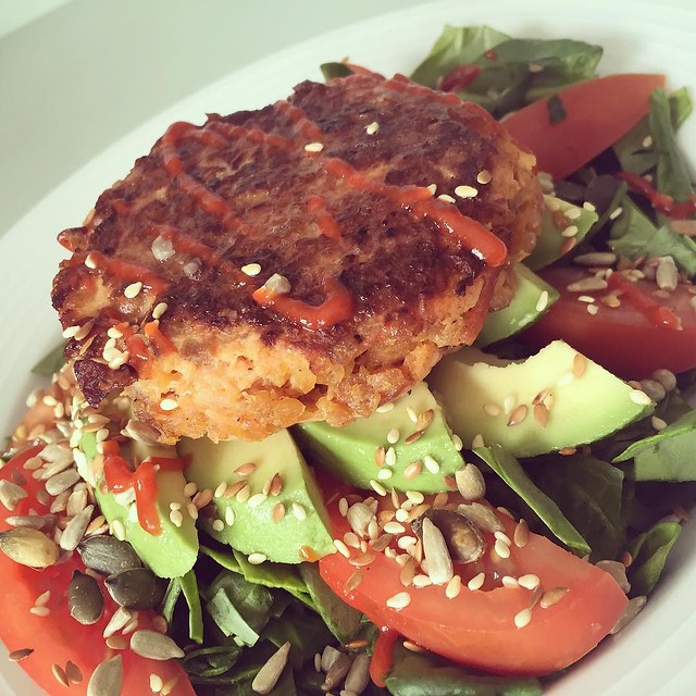 Weekday lunch treat- smoked salmon burger. Recipe coming on my blog next week.