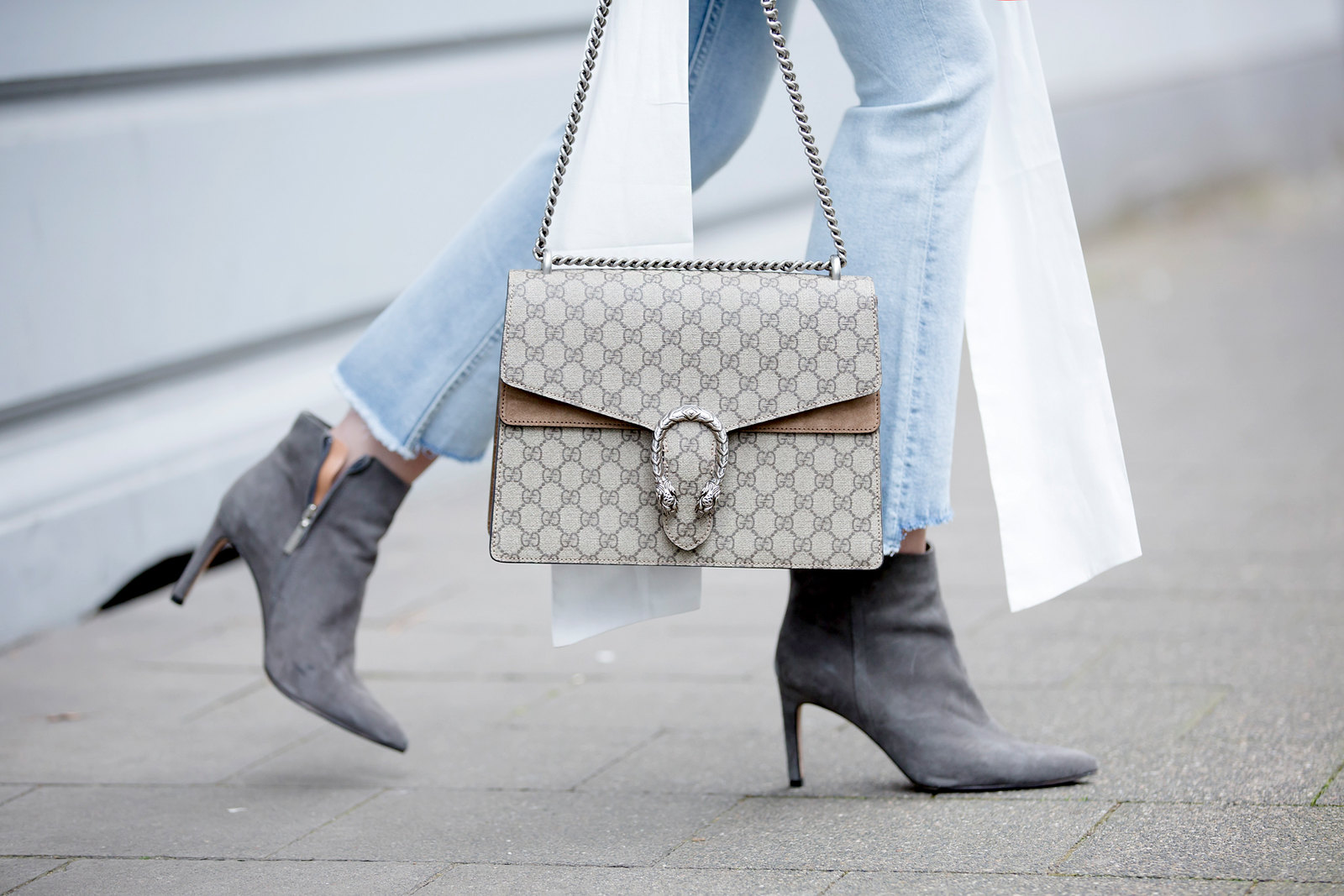 26d6b6b8a508 maritime big sleeve blouse chic gucci dionysus bag flared jeans scarf  sunglasses les specs sacha heels