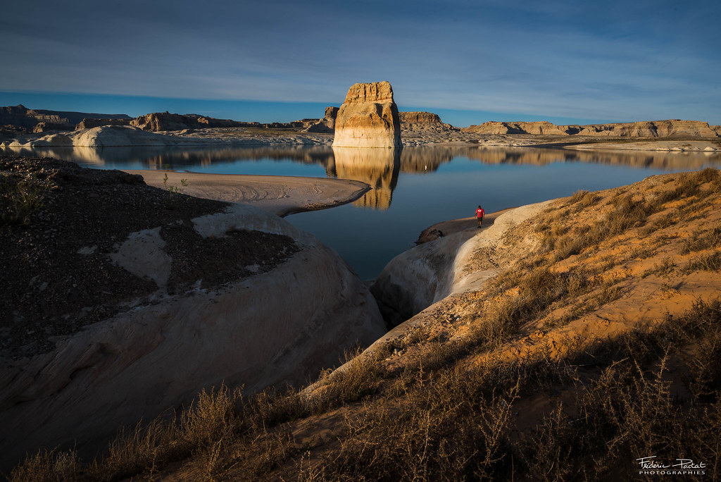 Lone rock on Lake Powell