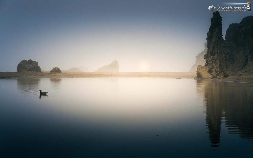 Sun behind dense fog