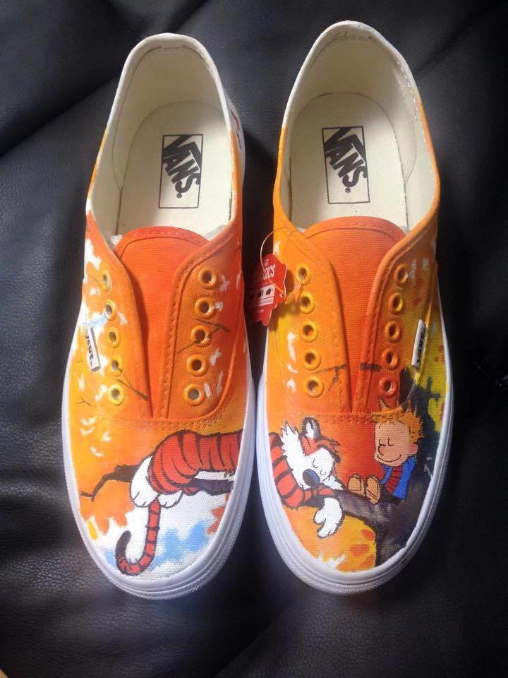 Custom shoe art by Danny P - Calvin and Hobbes