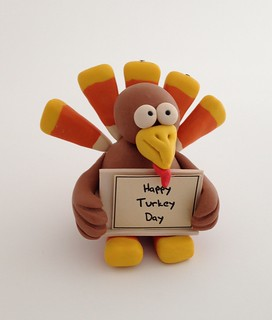 "Turkey with ""Happy Turkey Day"" Sign 