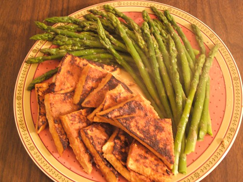 broiled tofu with asparagus | by foonus