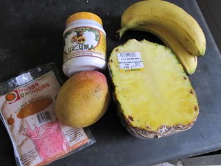 Makings for a fruit smoothie | by veganbackpacker