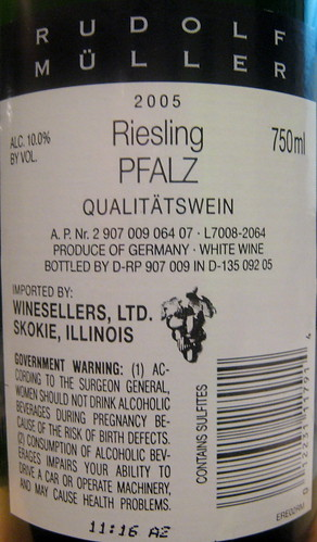 Rudolf Muller 2005 Riesling (back) | by 2 Guys Uncorked