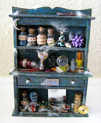 Haunted Spooky and Creepy Miniature Dollhouse Scale Hutch | by Enchanticals ~I'm Coming Back