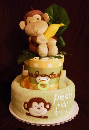 Peek A Boo Monkey Diaper Cake 20 Pampers Swaddlers 5