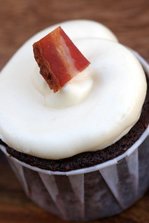 chocolate, toffee, bacon cupcake | by chockylit