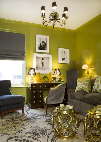 Ideas for small spaces: Bright green + gray + small tables | by SarahKaron