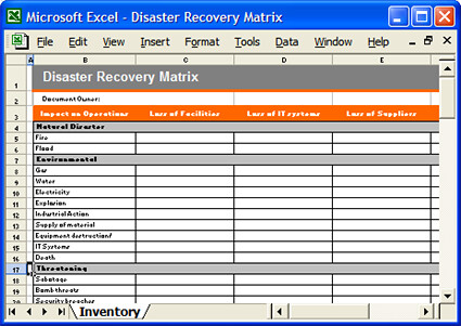 Disaster recovery matrix excel disaster recovery matrix for Disaster recovery communication plan template