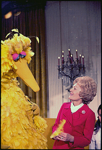 Mrs. Nixon meeting with Big Bird from Sesame Street in the White House, 12/20/1970 | by The U.S. National Archives