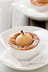 Poached Pear Almond Souffle Cakes | by tartelette