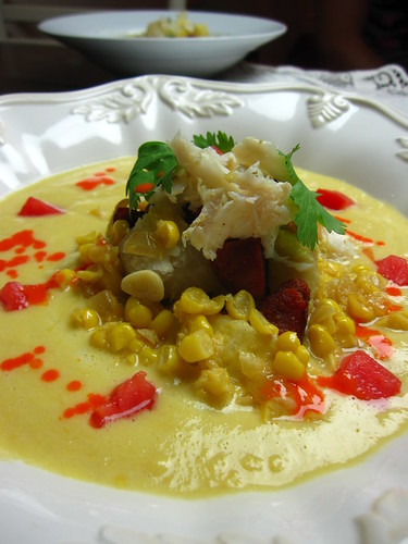 creamy corn and crab soup with chile emulsion | by SeppySills