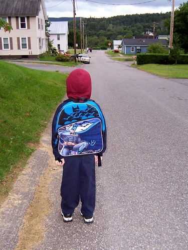 Walking down to the bus stop on the first day of first grade. | by lori05871