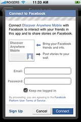 Settings for Facebook (logging in) | by Discover Anywhere Mobile