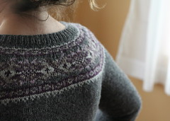 Back view, Plum Frost Cardigan | by ElinorB